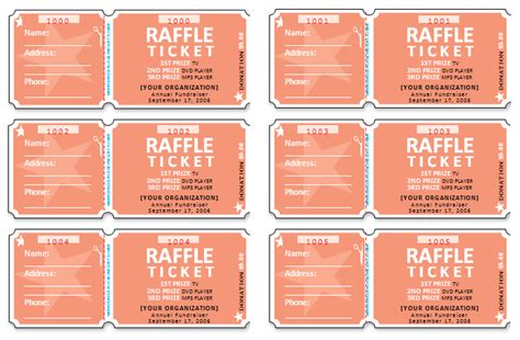 document templates free raffle ticket templates