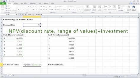 How To Calculate Net Present Value Npv In Excel Youtube Present Value Calculator Excel Template