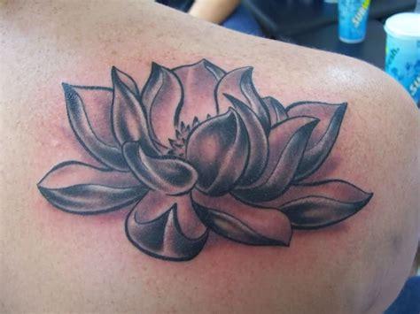 tattoo lotus flower blackandgrey on instagram cool black and grey lotus flower tattoo on right back shoulder