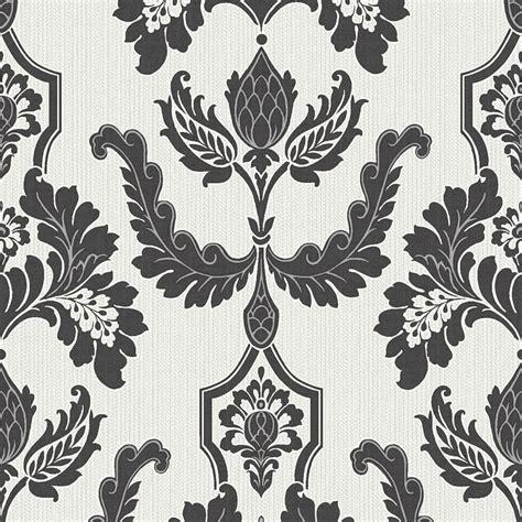 wallpaper black cream designer interiors martinique damask wallpaper black