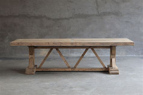 Reclaimed Trestle Dining Table Reclaimed Pine Trestle Dining Table Mecox Gardens