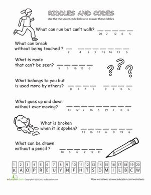printable brain quest worksheets riddles and codes 2 number code worksheets and number