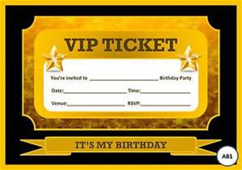 Blank Vip Gold Black Ticket Birthday Party Invitations With Free Envelopes Ebay Vip Ticket Template