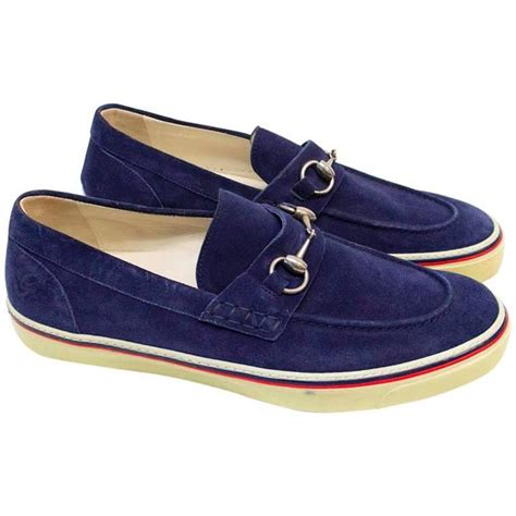 loafers with buckle gucci navy suede loafers with silver buckle for sale at