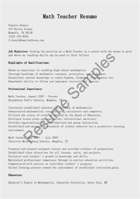 math resume cover letter resume sles math resume sle
