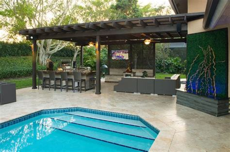 Outdoor Kitchen Designs With Pool | outdoor kitchen designs featuring pizza ovens fireplaces