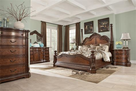 ledelle poster bedroom set ledelle poster bedroom set with tall headboard posts in brown