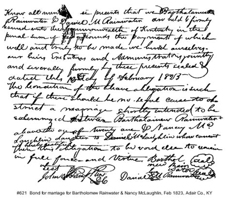 Early Kentucky Marriage Records Rainwater Marriage Records