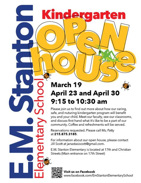 e m stanton kindergarten open house sosna south of