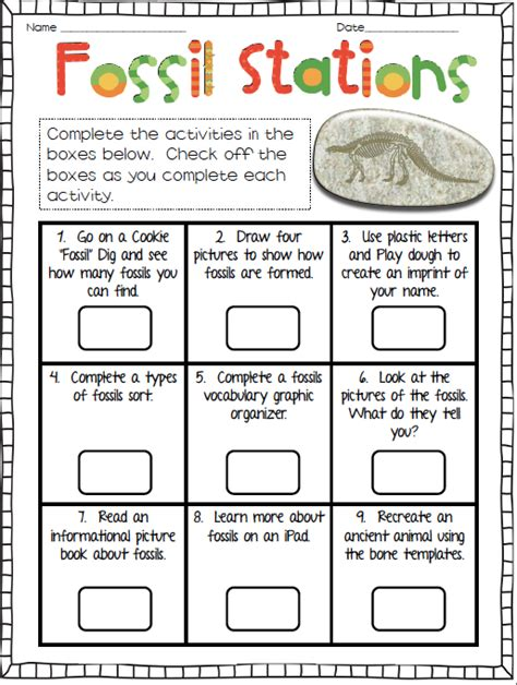 Fossils Worksheet