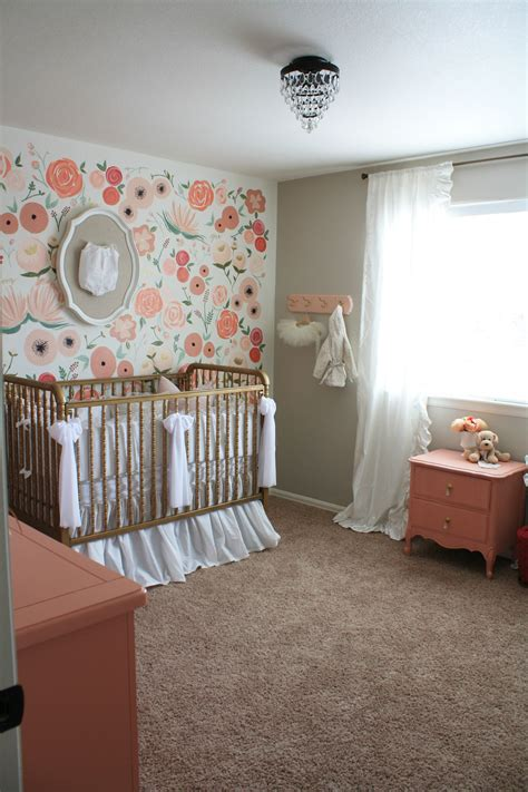 Hand Painted Wall Mural hand painted floral wall mural nursery project nursery