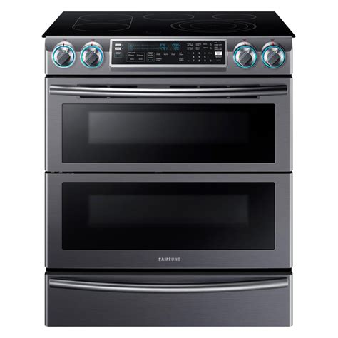 samsung flex duo 5 8 cu ft slide in oven electric range with self cleaning fingerprint