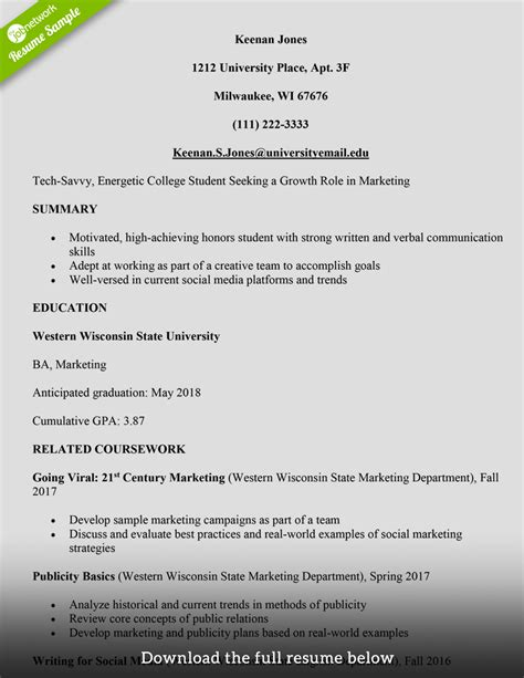 college student resume examples samples of resumes templates for