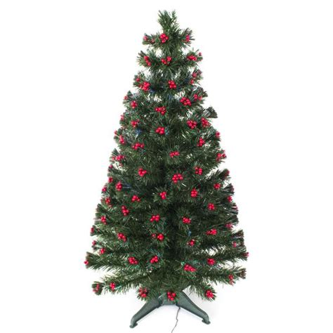 green fibre optic christmas tree with red berries garden