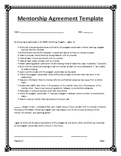 Mentorship Agreement Template By Agreementstemplates Org Mentorship Program Template