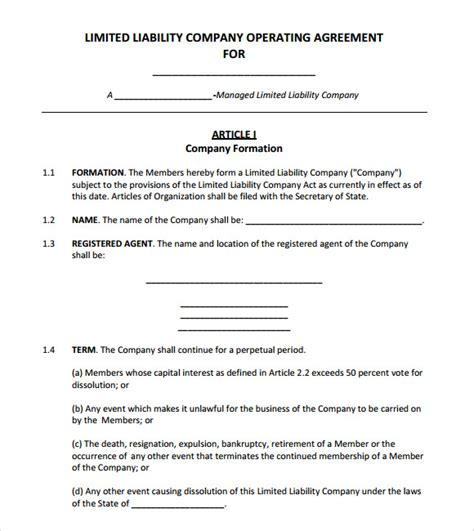 operating agreement template free operating agreement template lisamaurodesign