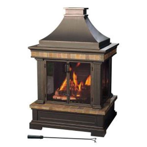 Sunjoy Fireplace by Sunjoy Amherst 35 In Wood Burning Outdoor Fireplace L