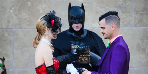 this batman obsessed couple s comic book wedding packs a