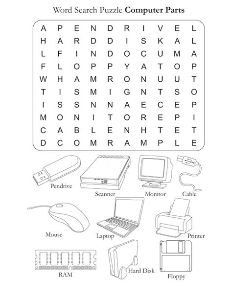 printable word games ks3 parts of the computer worksheets computer parts