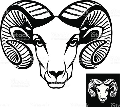 cartoon ram tattoo ram head logo or icon stock vector art more images of