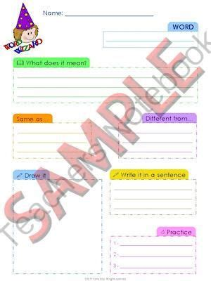 vocabulary journal template educational literacy