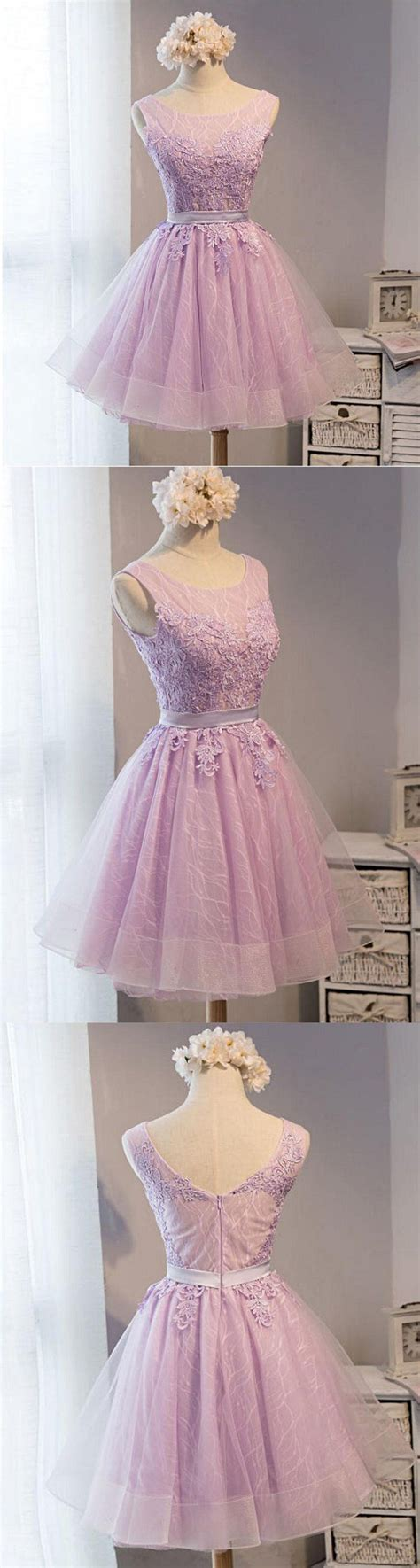lovely lilac lace short homecoming prom dresses