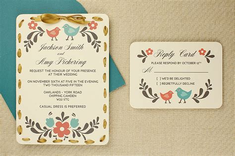 Card Templates And Projects by Diy Folksy Wedding Invitation Rsvp Card