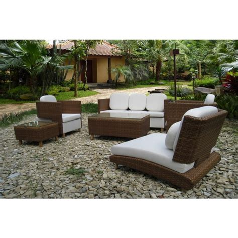 White and brown all weather wicker patio furniture outdoor decorations