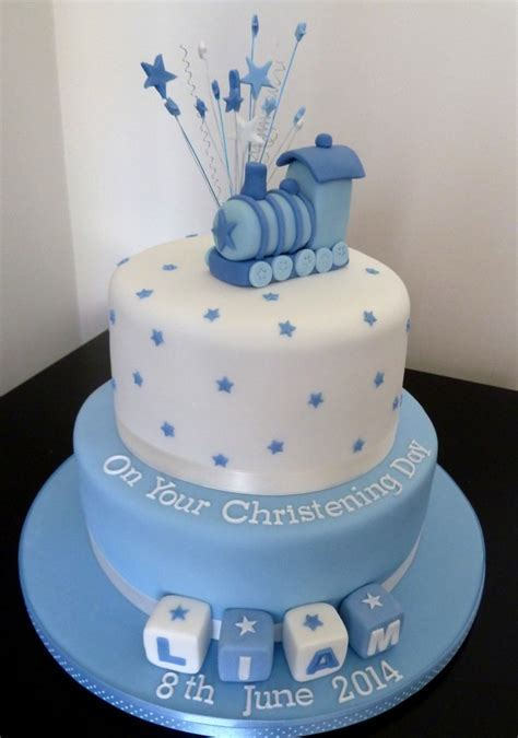 Christening Cake With Train   Wedding & Birthday Cakes from Maureen's Kitchen In Whitley Bay