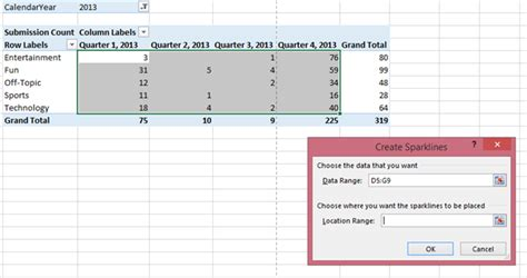 excel 2010 sparklines tutorial how to add line sparklines in excel 2013 use sparklines