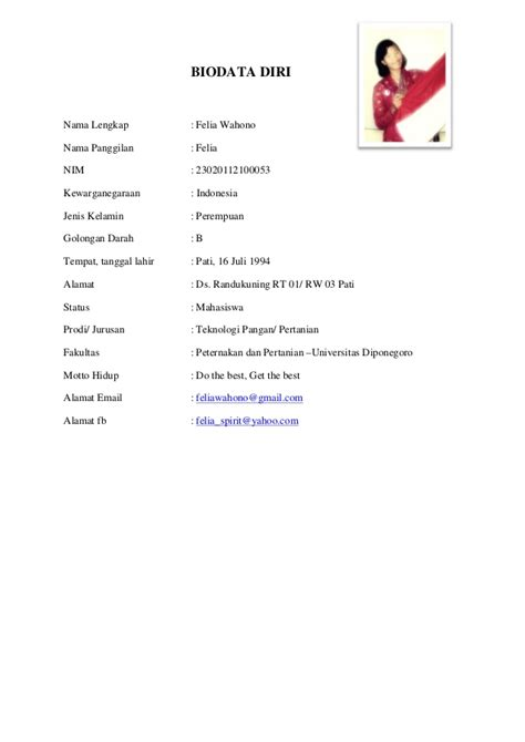 format biodata siswa lengkap biodata diri felia wahono