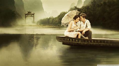 full hd wallpaper boat umbrella couple romantic desktop