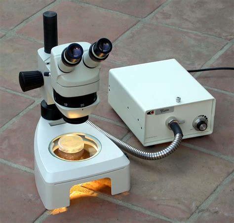 microscope fiber optic light source smt1 stereo microscope system w optics and illumination