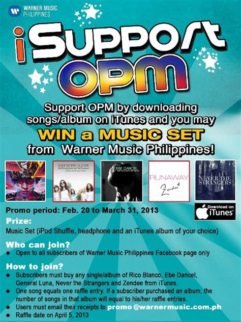 How To Buy Itunes Gift Card Philippines - warner music isupport opm promo philippine contests and promos