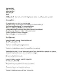 Investment Banking Associate Sle Resume banking resume sles 45 free word pdf documents
