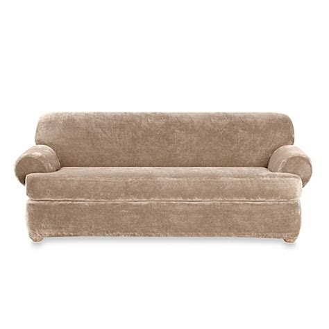 sure fit plush sofa slipcover sure fit 174 stretch plush 2 piece t cushion sofa slipcover