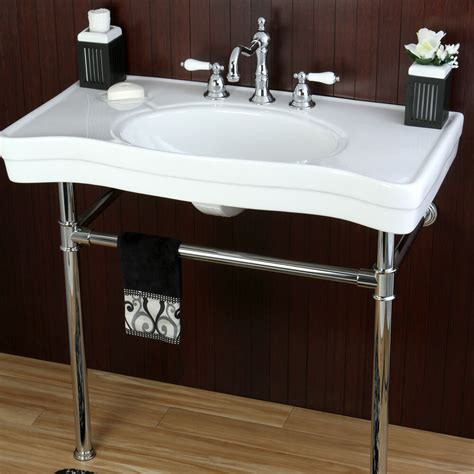 Chrome Sink by Vintage Style 36 Inch Wall Mount Chrome Pedestal Bathroom