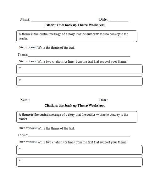 englishlinx com theme worksheets citations that back up theme worksheet englishlinx com