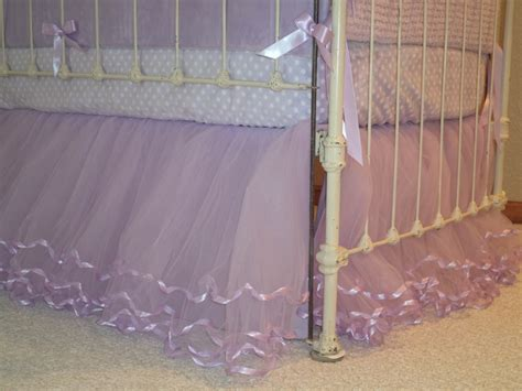 Tulle Crib Bedskirt by Lilac Tulle Crib Skirt W Matching Ribbon Lining