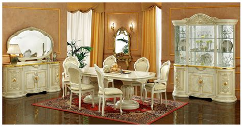 ivory dining room sets esf furniture leonardo 7pc dining table set in ivory by dining rooms outlet