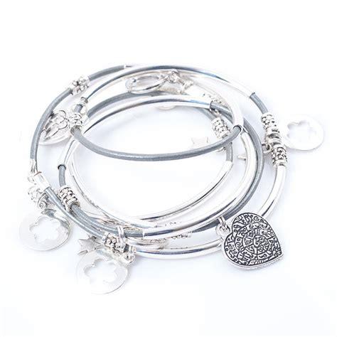 silver noodle wrap leather charm bracelet by
