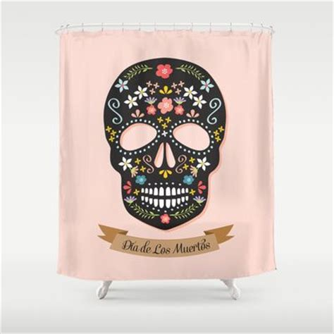 dia de los muertos shower curtain sugar skull dia de los muertos shower curtain by