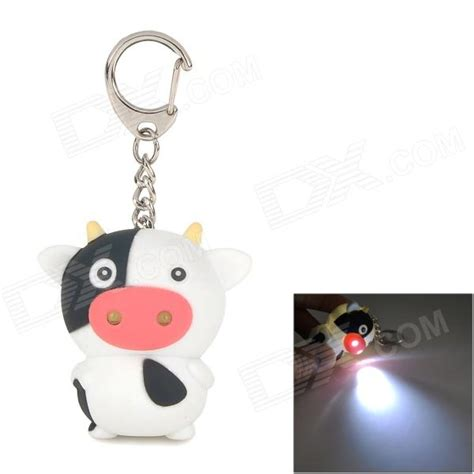 cow keychain led light cute cow plastic 2 led white light keychain w sound