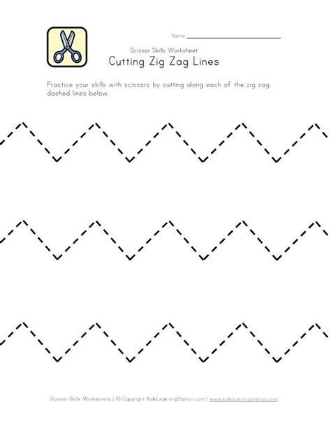 zigzag tracing pattern cutting practice worksheet zig zag lines pre k