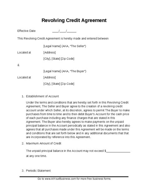 Credit Purchase Agreement Template sle revolving credit contract hashdoc