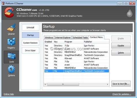 ccleaner context menu ccleaner 3 20 lets you manage items on windows explorer