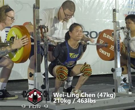 australian bench press record chen wei ling squats 4 5 times her bodyweight for a new