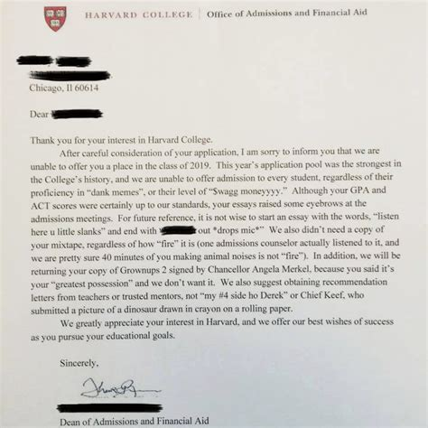 Rejection Letter Harvard college rejection letter genius