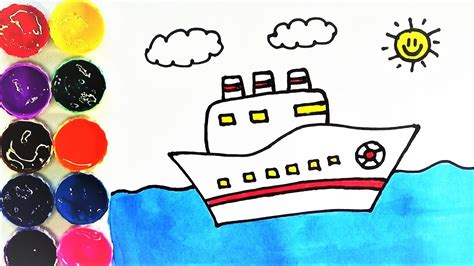 barco para dibujar y colorear dibujo de barco dibujar y colorear un barco en el mar