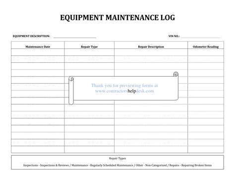 equipment log book template best photos of equipment repair sheet maintenance repair